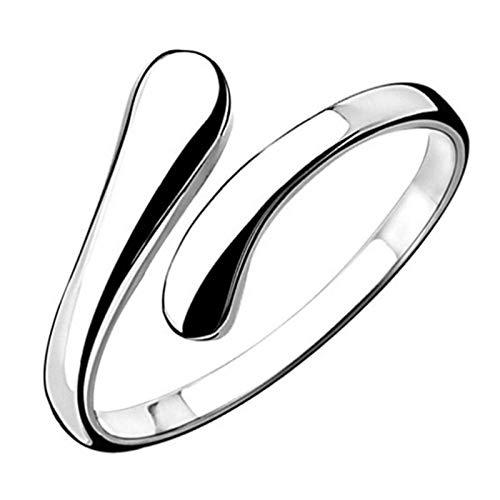 Aukmla Anillos ajustables abiertos simples anillo de plata joyería anillos de...