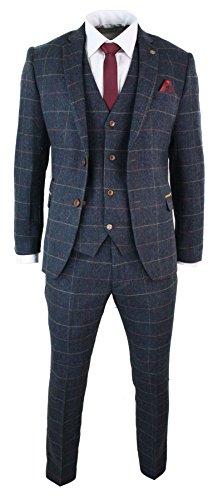 Marc Darcy Herrenanzug Blau Karriert Fischgräte Tweed Design Vintage 3 Teilig