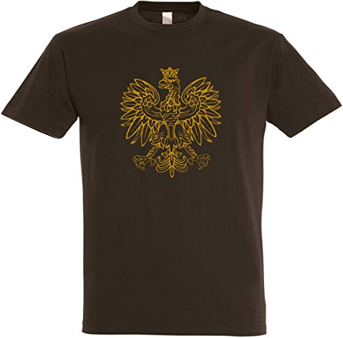 Herren T-Shirt Polen Adler Gold-Metallic Edition S bis 5XL (XL, Braun)