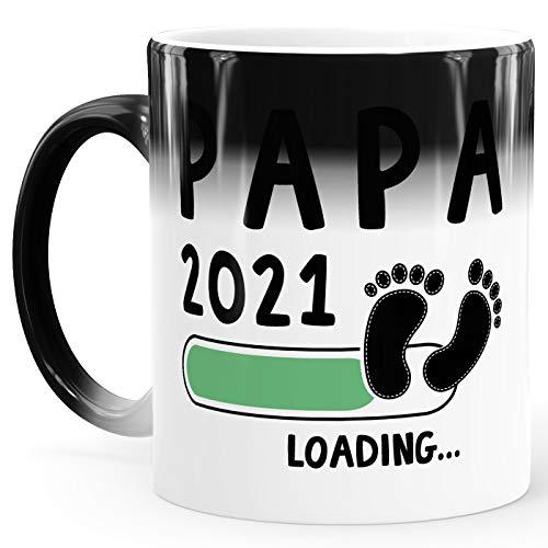 MoonWorks® Taza de café para papá 2020 loading efecto térmico, taza mágica de regalo para el futuro papá, anuncio, embarazo, nacimiento, color blanco y verde