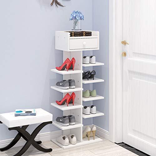 YYHSND Zapato de múltiples Capas Simple Espacio para el hogar hogar Familiar imitación gabinete de Madera Maciza Dormitorio Puerta Zapatos pequeños Estante 24x40x92.5cm Zapatero (Color : White)
