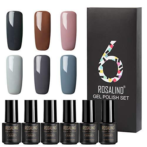 ROSALIND Gel Uñas de esmalte de uñas semi-permanente UV Soak-Off para el diseño de pedicura manicura 6 Botellas 7ML