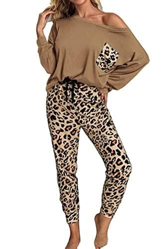 Conjunto De Pijama para El Hogar De OtoñO/Invierno con Estampado De Leopardo para Mujer Conjunto CóModo De Ropa para El Hogar De 2 Piezas Pantalones Casuales Y Top con Bolsillos