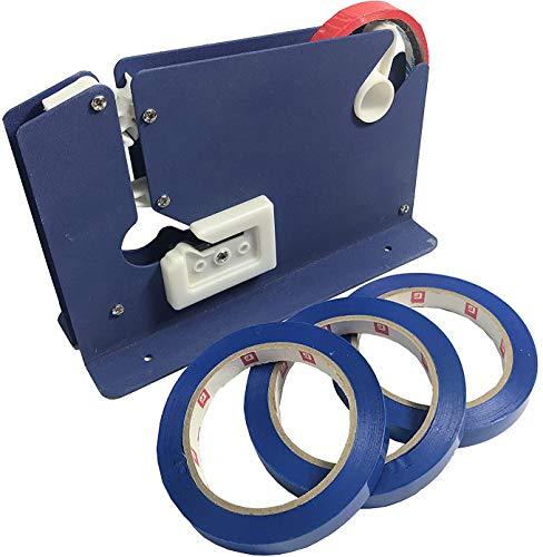 Máquina Precintadora Cierra Bolsas con 3+1 Rollos   Selladora Bolsas Plástico   Dispensador Cinta Adhesiva