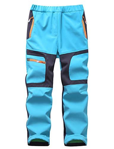 Echinodon Kinder Gefütterte Hose Softshellhose Winddicht Wasserabweisend Warm Jungen Mädchen Winter Outdoorhose Wanderhose Hellblau 3XL