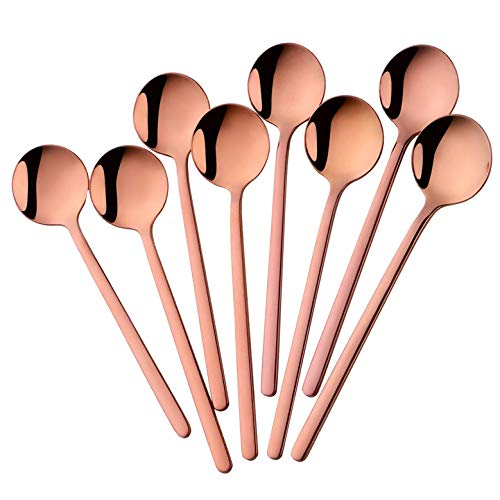 Comicfs 6 Inch Rose Gold Stainless Steel Espresso Spoons Set of 8 Coffee Spoons Teaspoons Set for Coffee Sugar Dessert Cake Ice Cream Soup Antipasto Cappuccino 8 Spoons Rose Gold