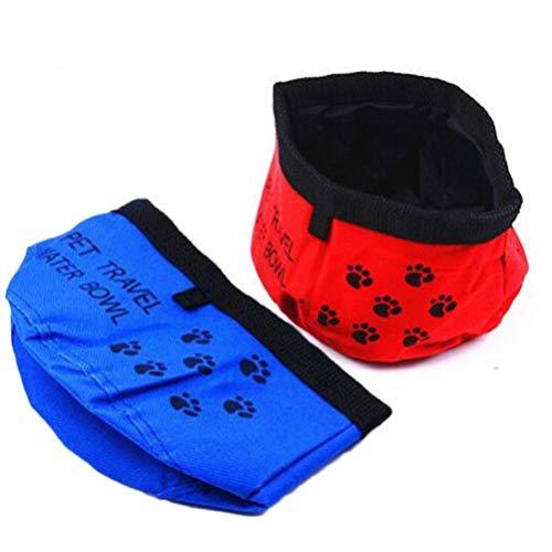 POPETPOP Cuenco Plegable para Perros-2 Piezas de Tela Oxford Plato Plegable Impermeable para Alimentos para Gatos Y Mascotas Tazón de Viaje Portátil