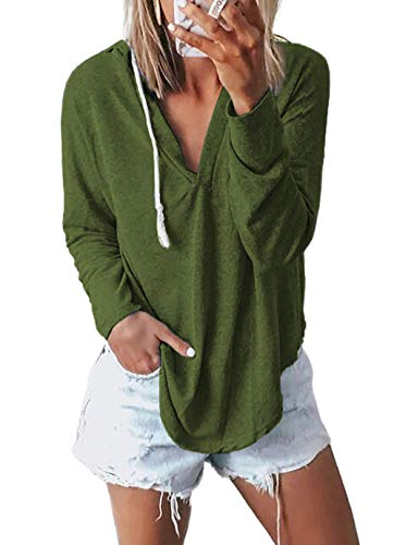 Kirundo 2020 Women's Deep V Neck Hoodie Long Sleeves Solid Color Drawstring Belt Sweatshirt Loose Tops Blouses