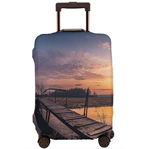Cubierta de equipaje de viaje Puente Agua Puente Puesta de Sol Cielo Nubes Corriente Cañas Naturaleza Maleta Protector Lavable Equipaje Cubiertas