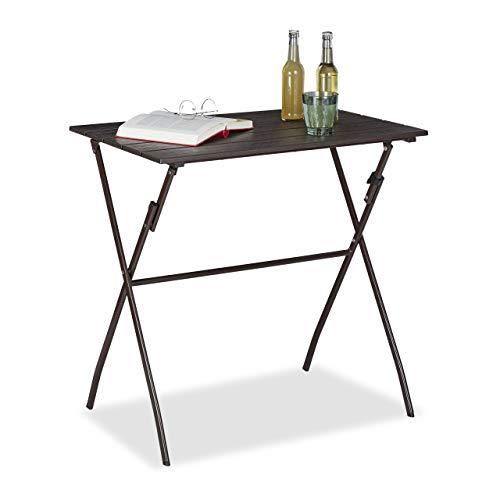 Relaxdays klappbarer Gartentisch, Holzoptik, eckig, Kunststoff, Metall, Balkontisch, HxBxT 75 x 77,5 x 48,5 cm, braun