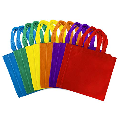 Assorted Colorful Solid Blank Tote Party Gift Bags Rainbow Colors with Handles for Birthday Favors, Snacks, Decoration, Arts & Crafts, Event Supplies (12 Bags) by Super Z Outlet (12' Inches)