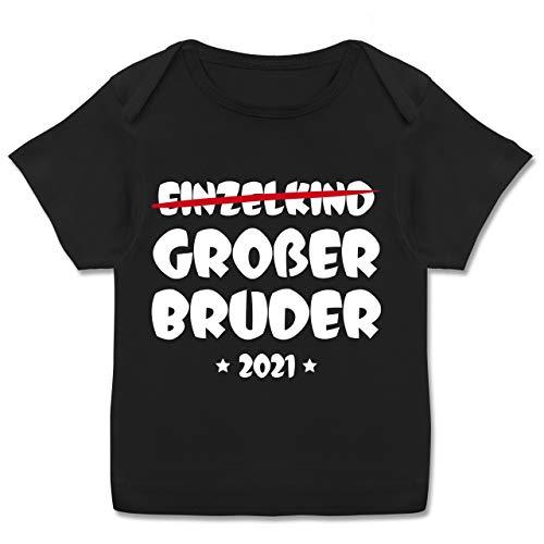 Geschwisterliebe Baby - Einzelkind Großer Bruder 2021-80-86 - Schwarz - Tshirt großer Bruder 2021 größe 80 - E110B - Kurzarm Baby-Shirt für Jungen und Mädchen