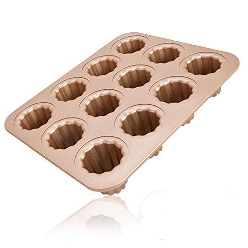Moule à cannelés, 12 cavités antiadhésives, moule à cannelés,à gâteaux, en acier carbone doré