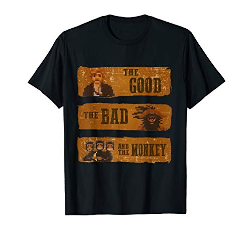 good bad monkey videogame western island tshirt geek T-Shirt