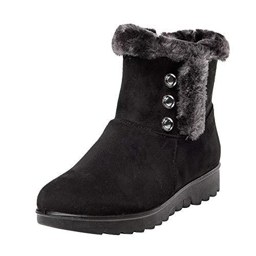 DreamedU Botas de Nieve Mujer Invierno Calientes Piel Forradas Botines Antideslizante Ligero Zapatos de Trabajo Formal Calzado 201019