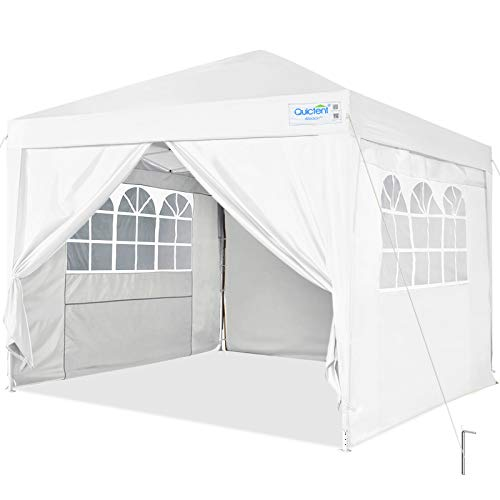 Quictent Silvox 10x10 Ez Pop Up Canopy Tent Enclosed Instant Canopy Shelter Protable Waterproof with Sidewalls and Church Windows (White)