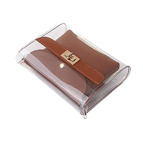 Messenger Bag/Doircal Damen Tasche Shopping Portable Transparente Umhängetasche Mode Mini Kleine Umhängetasche Transparente Mädchen Cute Bag Handtaschen(Braun,18.5cmx5cmx15cm EU)