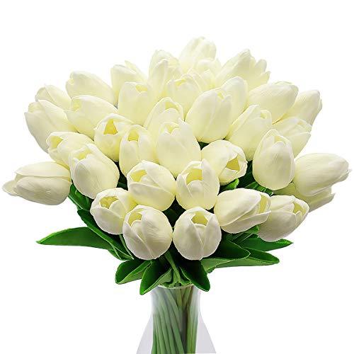 CattleyaHQ Künstliche Tulpen-Blumen, 10pcs Real Touch Latex-Blumen-Tulpen mit Blättern, Elegante Dekoration für Brauthochzeits-Bankett-Partei, Hauptküche (Weiß)