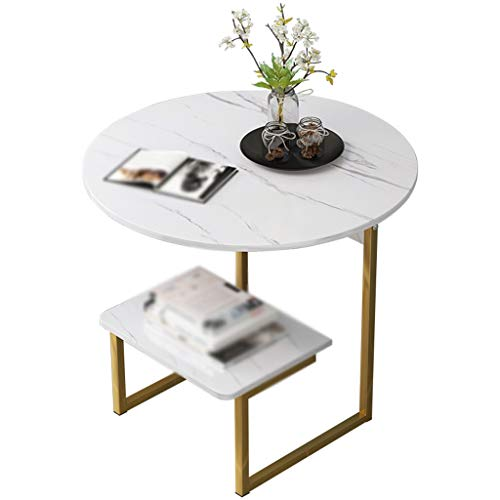 Gehumaniseerd ontwerp Creative Koffietafel, Double Layer Ronde Marmeren Textuur Side Table Parlor Sales Department Cafe onderhandelingstafel Glad aanrecht (Color : A, Size : 50 * 56CM)