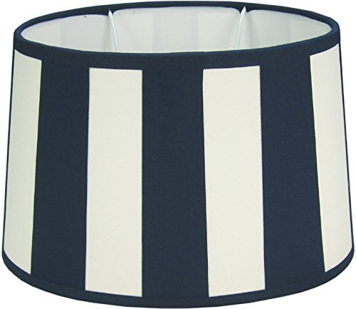 Lampenschirm, Chintz. oval, Balkenstreifen marineblau/creme Do=21,5 / Du=26,5/ H=17,5cm Befestigung unten E27