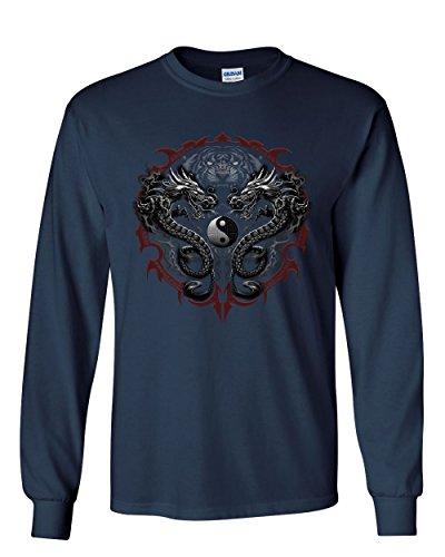 Bengal Rising Dragons Long Sleeve T-Shirt Asian Art Wild Tiger Yin and Yang Tee Navy Blue L
