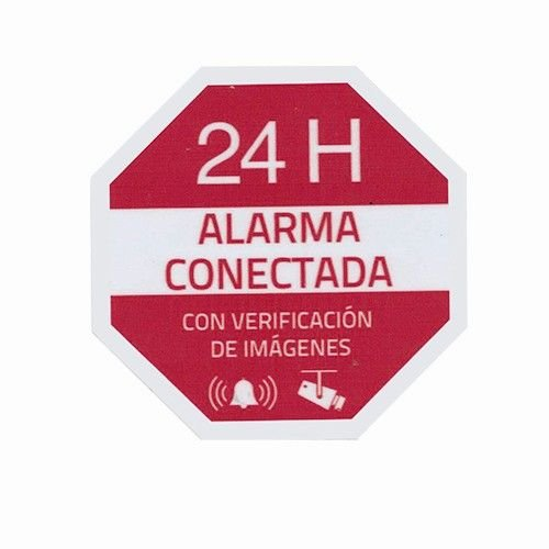 CABLEPELADO Pegatina plastico Alarma Interior-Exterior Rojo