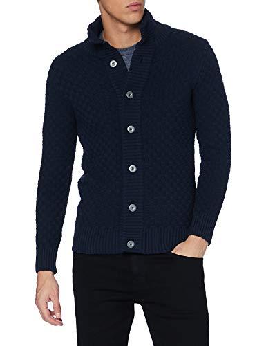 KRONSTADT Mens Benjamin Recycled Cardigan Sweater, Navy, X-Large