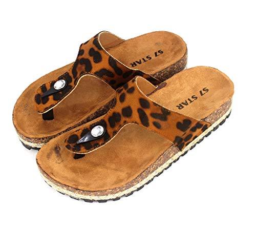 Sandalias de Dedo para Verano Planas, Playa, Piscina o Casa, Modelo Leopardo Talón Abierto para Mujer, Suela Antideslizante, Tacón 3,5cm (38, 1005 Caqui)