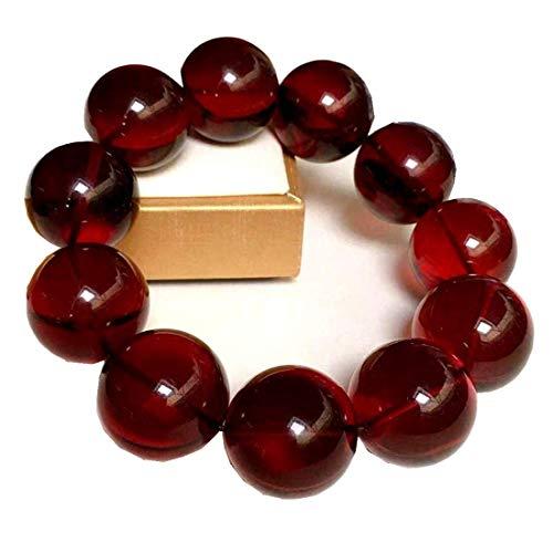 DUOVEKT Pulsera de ámbar rojo sangre natural de 20 mm para mujer y hombre, piedra preciosa Birmania, cuentas redondas transparentes con certificado de estiramiento AAAAA