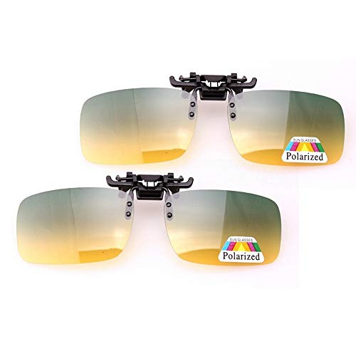 Jigan Gepolariseerde zonnebrillen, dag- en nachtzichtclip-on-zonnebril, uniseks, flip-up clip op brillen met dikte, plastic clip, 2 stuks