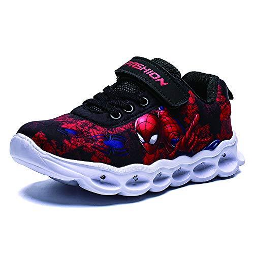 Zapatos de araña para niños con luz LED intermitente, para niños y niñas, color Rojo, talla 27 EU