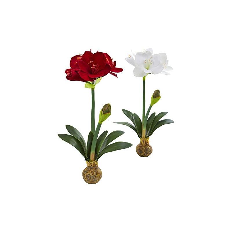 silk flower arrangements nearly natural 25 in. amaryllis artificial (set of 2) silk flowers multi