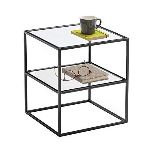 Jcnfa-side tafel Side End Table, glazen nachtkastje, dubbele laag ontwerp, totale verpakking, voor kleine ruimtes smalle nachtstandaard zwart, 15.74 inch