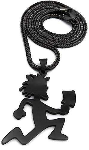 GWOOD Juggalo Pendant 30 Inch Long Necklace (GUN METAL COLOR WITH 30 INCH FRANCO CHAIN)