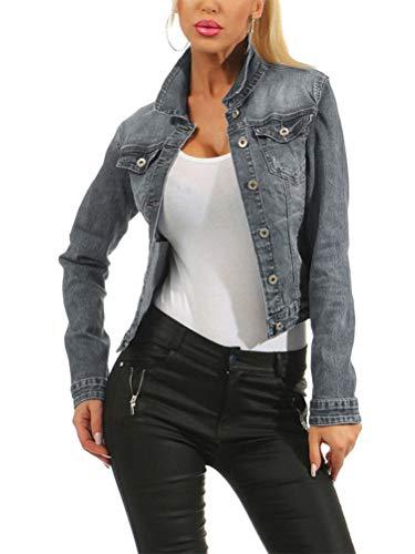Tomwell Femme Automne Casual Denim Blousons Manches Longues Retro Bouton Veste Jeans Lavés Manteaux Gris 34