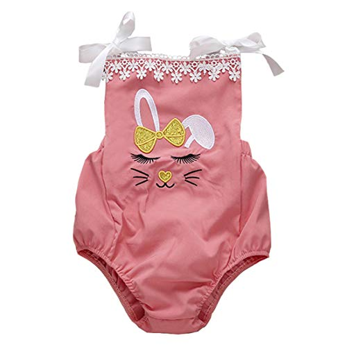 FCQNY Toddler Baby Girls Easter Cartoon Lapper Romper Coton Barboteuse (Color : Pink, Size : 70)