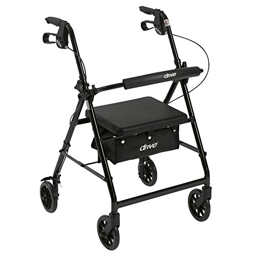 Drive Medical R726BK Aluminum Rollator Walker Fold Up and Removable Back Support, Padded Seat, 6