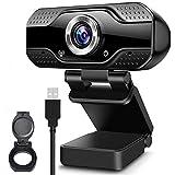 Webcam con Micrófono Cámara Pc de Transmisión en Vivo HD Web Cámara de Video con Cubierta de Privacidad Webcam USB para Video Llamada Grabación Juegos Conferencia en Línea