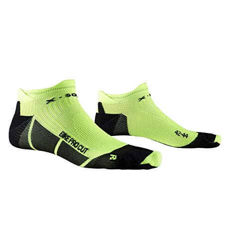 X-Socks Bike PRO Cut, Calzini da Ciclismo Unisex-Adulto, Opal Black/Phyton Yellow, 42-44