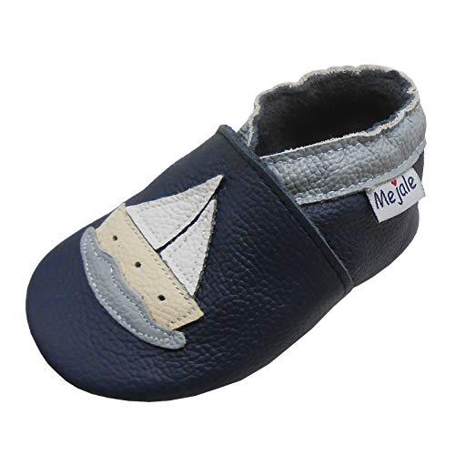 Mejale Weicher Leder Krabbelschuhe Baby Hausschuhe mit Gummisohle Halt Anti-Rutsch-Jungen-Mädchen-Schuhe für Kleinkinder Karikatur Segelboot (Dunkelblau, 18-24 Monate, XL)