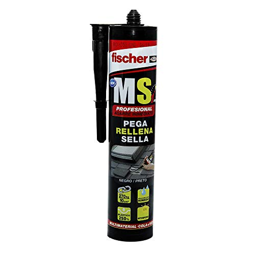 Fischer 1 sellador de juntas MS Profesional (cartucho 290 ml) negro, polímero mono