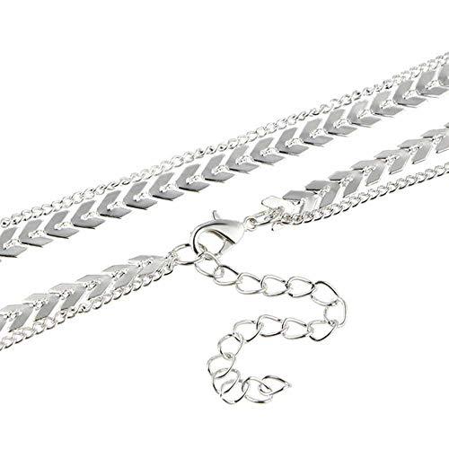 NoBrand Kettenhalsband Zwei Schichten Halsketten Fishbone Flugzeugform Gold Farbe Halskette Flachkettenschmuck