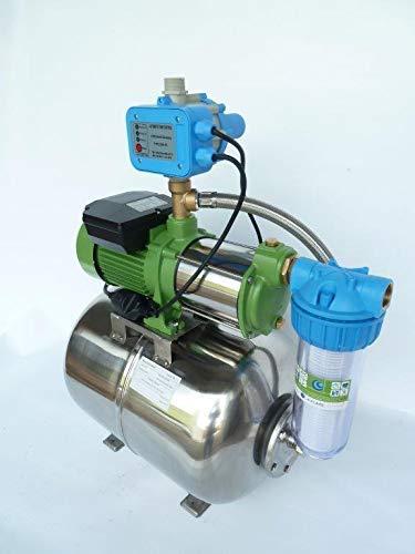 Hauswasserwerk Edelstahl/INOX 50 Liter + Vorfilter mit Kreiselpumpe HMC-145 1100 Watt INOX 9000l/h - 150l/min. - Förderh.: 55m, Druck 5bar + Pumpensteuerung PS-01 Trockenlaufschutz