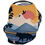 Car Seat Canopy Nursy Cover, Style Wolf and Wild Goose at Dusk Multi Use Breastfeeding Scarf for Infant Carseat Canopy, Stroller, Shopping Cart, Highchair