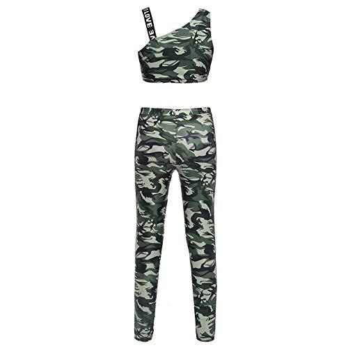 Alvivi Mädchen Sport BH Crop Tops mit Tight Hose Leggings Camouflage Trainingsanzug Sport Set für Tanz Yoga Jogging Training Z Camouflage Grün Z 122-128