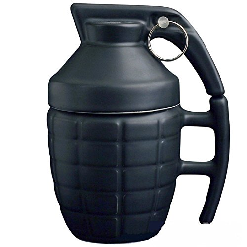 Ducomi Granate - Frühstückstasse für Cappuccino, Kaffee und Tee in Keramik (280 ml) - Originelle und Lustige Geschenkidee - Gönnen Sie Sich einen Snack mit Einem Knall (Black)