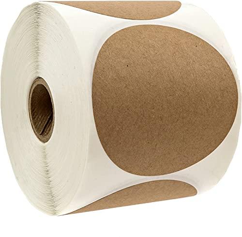 "3"" Natural Brown Kraft Stickers/500 Labels per Roll/Permanent Adhesive"