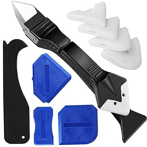 Rimozione e levigatura sigillante silicone, kit di utensili per calafataggio raschietto sigillante 3 in 1, spatole sigillante in silicone finitura levigante per bagno cucina pavimento e finestra