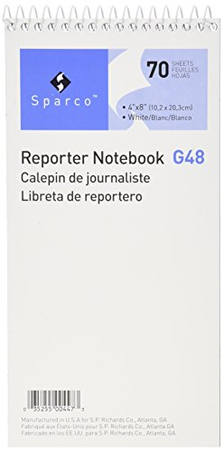 Sparco Reporter's Notebook, Gregg Ruled,70 Sheets,4 x 8 Inches, 12/Pack, White (SPRG48)