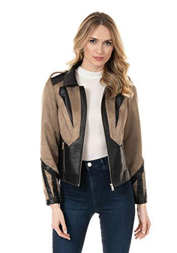 Donna Salyers' Fabulous-Furs Laser Cut Faux Suede Moto Jacket (M) (Brown)
